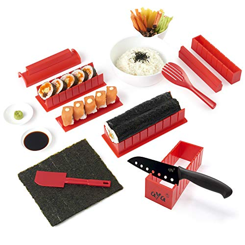 Roll Sushi Maki - Sushi Making Kit - Original AYA Sushi Maker Deluxe Exclusive Online Video Tutorials Complete with Sushi Knife 11 Piece DIY Sushi Set - Easy and Fun - Sushi Rolls - Maki Rolls