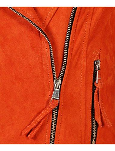 African Chèvre Orange Cuir Zippé Motard Style Blouson En De Bridget Femme dSXHd