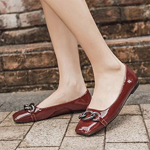 On Slip Loafers Toe Oxford Women Classic GIY Red For Flat Wine Buckle Dress Shoes Penny Square Loafer UnqBnxfIwg