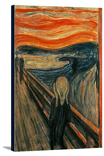 The Scream - Masterpiece Classic - Artist: Edvard Munch c. 1893 (24x36 Gallery Wrapped Stretched Canvas)