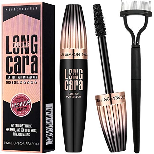 - 4D Silk Fiber Lash Mascara Waterproof Black - Lengthening, Volumizing, Thrive, Long-Lasting
