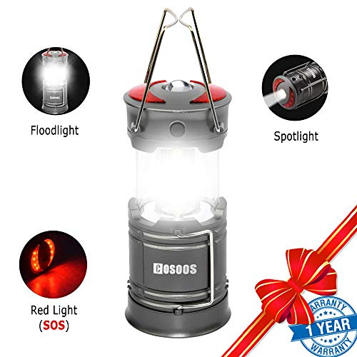 Rechargeable Lantern Flashlight, COSOOS Portable LED Camping Lamp with Built-in 2000mAh Li-ion Battery, 4 light Mode, Red Light, for Camp, Tent, Hurricane, Outages, Support AA Battey(Not Included)
