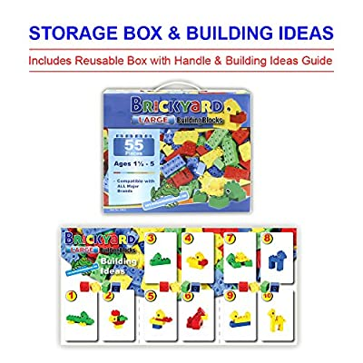 [177 Pieces] Compatible Large Building Block Toys by Brickyard, For Children Ages 1.5-5, Fits DUPLO Blocks - Bulk Block Set