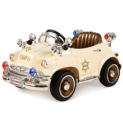 Costzon Kids Ride On Car, 6V Battery Powered Ride On Vehicle, Parental Remote Control & Manual Modes, Classic Style w/Opening Doors, LED Lights, Music, Horn, Brake, Volume Controller Functions, Beige
