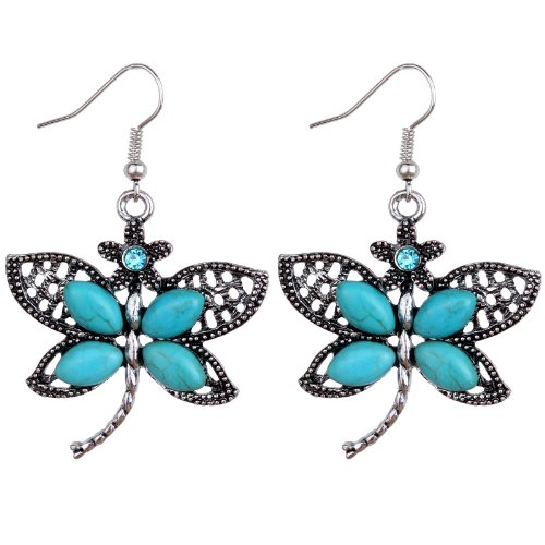 Turquoise Dragonfly Earring (YAZILIND Cute Dragonfly Tibetan Silver-plated Turquoise Drop Dangle Earrings)