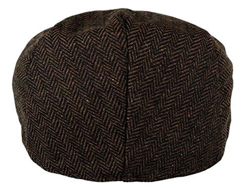 Men's Herringbone Tweed Wool Blend Snap Front Newsboy Hat (DK.Brown, LXL)
