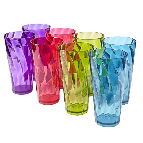 (Optix 26-ounce Plastic Tumblers | set of 8 in 4 assorted colors)
