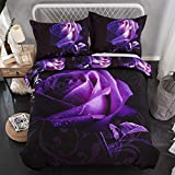 Purple and Black Comforter Set Purple Duvet Cover Queen 3D Printed Purple Rose Bedding Set Soft Microfiber 3 Pieces Modern Duvet Cover Set for Girls (1 Duvet Cover with 2 Pillowcases) Black 90