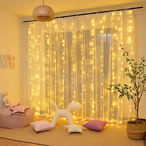 JIERAY 300 LED Fairy Curtain Window String Lights, Indoor String Lights 10 Ft with 8 Modes Fits Remote and Timer for Bedroom Wedding Party Patio and Christmas Decoration