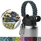 the flow Universal Paracord Handle for Wide Mouth Water Bottles Robust Hydro Flask Carrier with Aluminum Carabiner, Security Ring & Waterproof Vinyl Sticker-Carry & Customize Your Tumbler