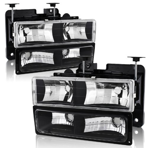 88-02 Chevy/GMC C10 Truck Black Housing Headlight + Bumper Parking Light 4PC Combo Set - Headlight Parking Light Set