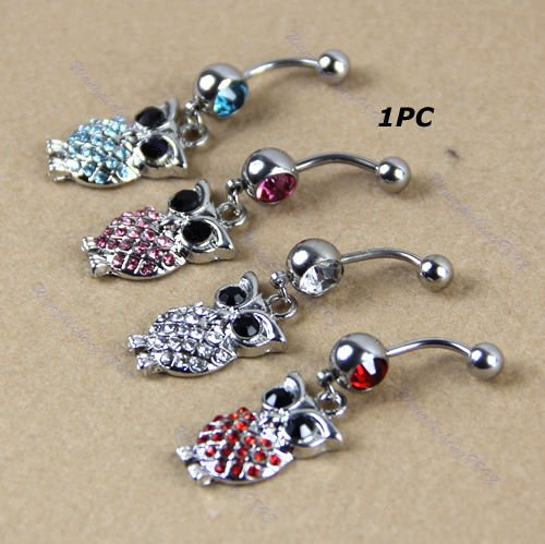 Retro Crystal Rhinestone Navel Belly Button Ring Body Piercing Jewelry New (Crystal Belly Owl)