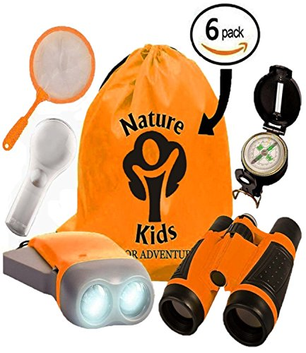Adventure Kids - Educational Outdoor Children's Toys - Binoculars, Flashlight, Compass, Magnifying Glass, Butterfly Net & Backpack. Explorer Kit Great Kidz Gift Set For Birthday, Camping & (Great Gifts For 8 Year Old Boy)