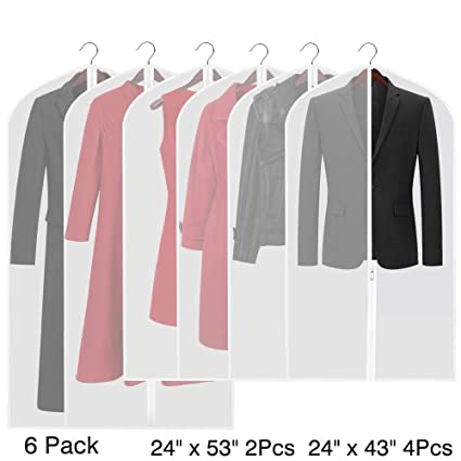 deeba8fc78 Etmury Garment Bags Translucent Moth-Proof Hanging Clothes Storage Covers  for Suits or Dress Closet