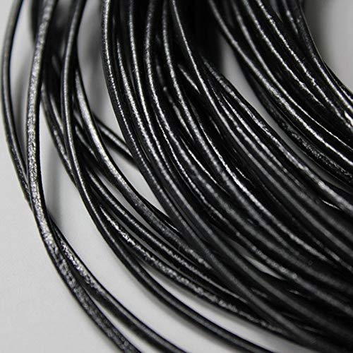 - Laliva 5 Yards 2mm Round Genuine Cow Hide Black Leather Strands, 2mm Real Cow Leather Cord for DIY Bracelet Necklace Shoelace Jewelry