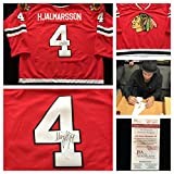 Niklas Hjalmarsson Chicago Blackhawks Signed Autograph Red Hockey Jersey. JSA COA