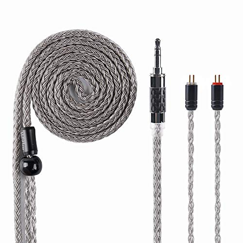 - HiFiHear 16 Core Replacement Cable, Upgrade Silver Plated Copper Cable 2 Pin Detachable Connector Audio Cable with 3.5mm Jack for KZ AS10 ZS7 CCA C16 C10 ZS6 AS06 ZST ZS10 LZ TRN V80 (2 Pin 3.5mm)