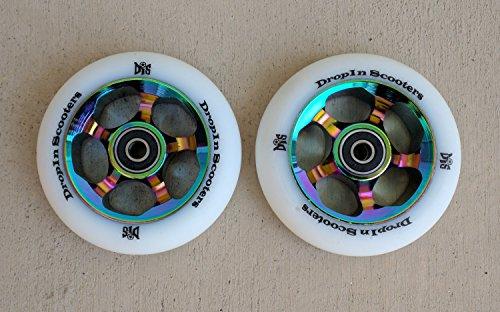 DropIn Scooters DIS 100mm Oil Slicks Metal Core Wheels 5-Spoke (2 Wheels) - Rainbow Metallic