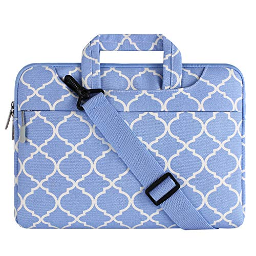 MOSISO Laptop Shoulder Bag Compatible 15-15.6 Inch MacBook Pro, Ultrabook Netbook Tablet, Quatrefoil Canvas Protective Briefcase Carrying Handbag Sleeve Case Cover, Serenity Blue