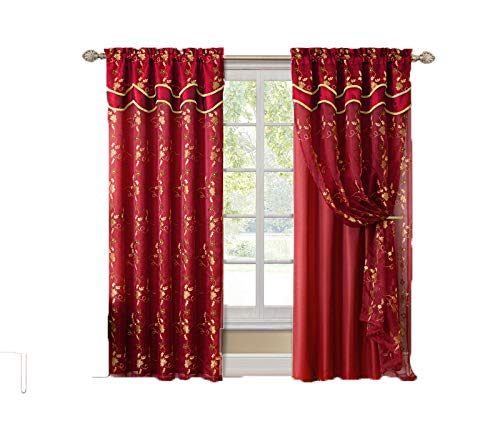 "Victoria Classics Red and Gold Double Layer Embroidered Window Curtain: Floral Design, Attached Valance, 55""x90"" (1)"