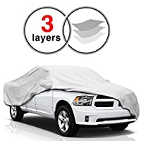 KAKIT Dodge Ram Truck Cover for Dodge Ram 1500 2500 3500 Crew Cab 1998-2017, 3 Layers Durable Waterproof Windproof for Outdoor, Dustproof Scratch Proof Dodge Ram Car Covers, Free Windproof Ribbon