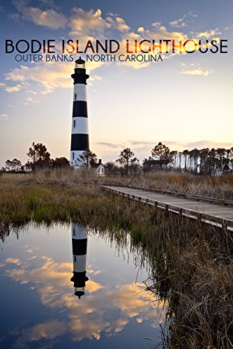 Bodie Island Lighthouse - Outer Banks, North Carolina (9x12 Fine Art Print, Home Wall Decor Artwork Poster)