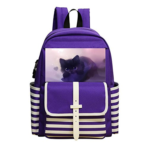 Kitty Loves Fish - School Backpacks Kitty Loves Fish Purple Kid Shoulder Bags