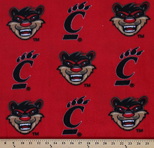 Fleece College University of Cincinnati Bearcats Fleece Fabric Print By the Yard - Red (University Fleece)