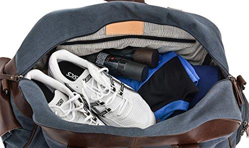 """Gusti Leder studio """"Stanford"""" elegante Sporttasche inkl. Schuhfach Reisetasche Ledertasche Weekender Traveller Tasche Handgepäck Reisegepäck Ziegenleder & Canvas Vintage Braun Blau 2R25-29-17"""