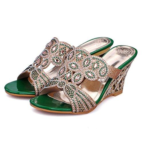YE Damen Keilabsatz Peep Toe Pantoletten Glitzer Sandalen mit Strass Elegant Modern Freizeit Schuhe Grün