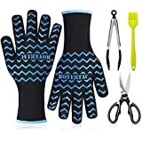 RoverTac BBQ Gloves, 932℉ Extremely Heat Resistant Gloves. Oven Mitts for Other Hot Work in Kitchen, Cooking Gloves for Outdoor Camping and Garden Party