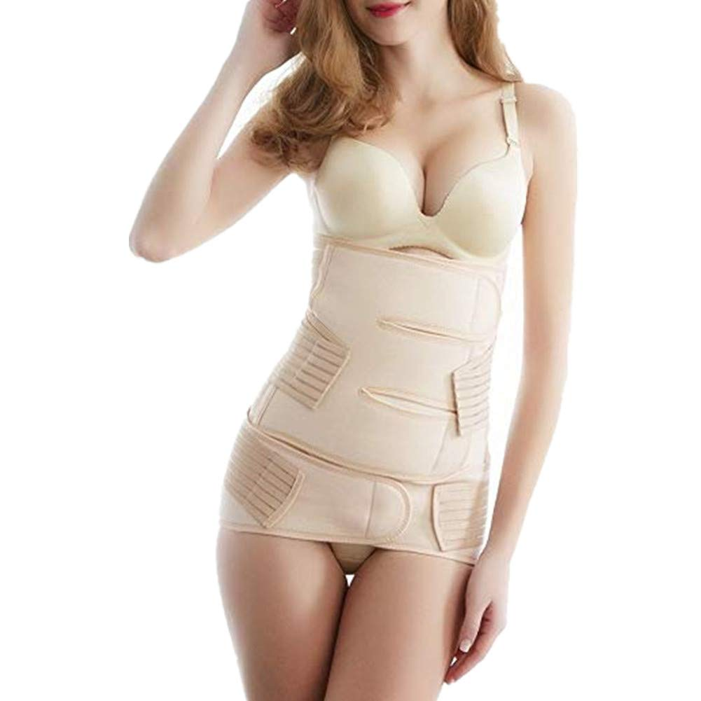 Tirain 2 in 1 Postpartum Support Postnatal Waist Pelvis Wrap C-Section Recovery Shapewear (One Size, Nude)