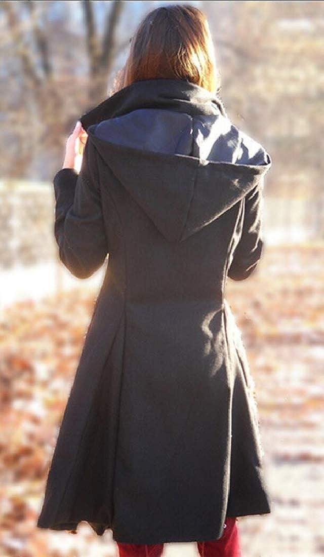 Keaac Women Winter Button Down Outdoor Wool Blended Pea Coat Jacket
