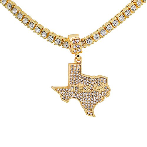 Texas Star Pendant - Yellow Gold-Tone Hip Hop Bling Simulated Crystal Lone Star State Texas Map Pendant with 18