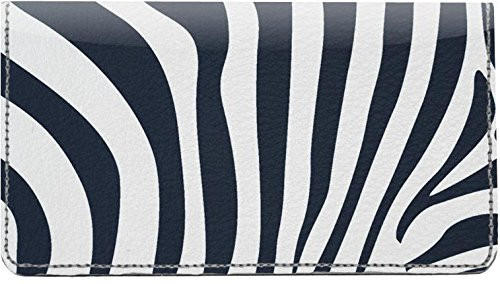 Classic Zebra Print Leather Checkbook Cover