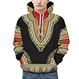 kaifongfu Hooded Men,Autumn Winter African 10D Print Hoodies Sweatshirt Tops Blouse (Black,5XL)