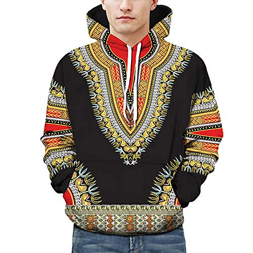kaifongfu Hooded Men,Autumn Winter African 10D Print Hoodies Sweatshirt Tops Blouse (Black,5XL) by kaifongfu-mens clothes