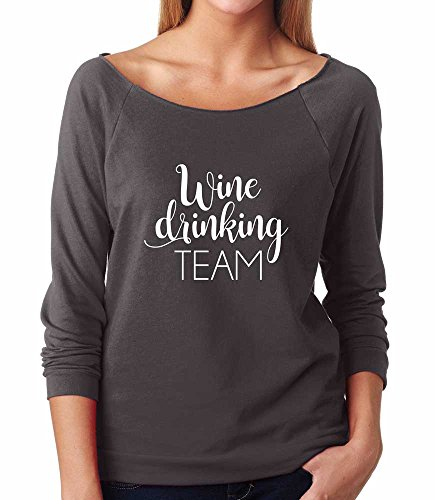 Blue Sand Textiles Wine Drinking Team Shirt for Women. Lightweight, 3/4 Length Sleeved Shirt with a Raw Edge Boat Neck. (Dark Grey, Large) (T-shirt Drinking Light Team)