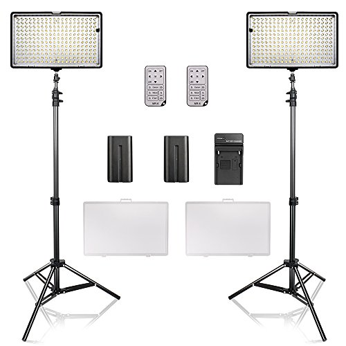 SAMTIAN LED Video Light Kit with Stand led Panel Set with Tripod and 240pcs 3200-5600K Beads Including Battery Charger Mini Ball Head and Carry Case for YouTube Studio Photography, Video Shooting by SAMTIAN
