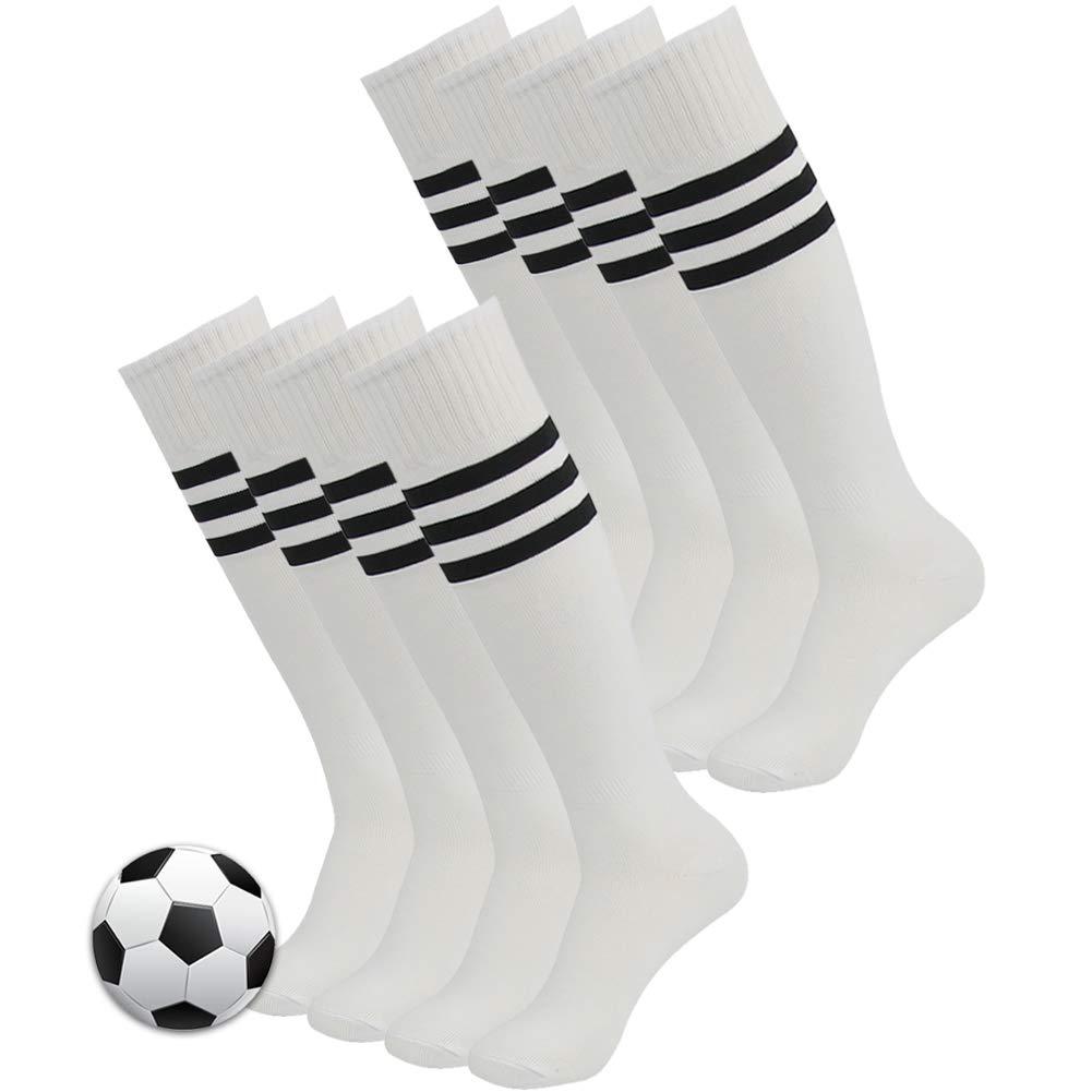 Football Team Socks, 3street Adult Youth Keep Warm Thick Cushioned Comfortable Volleyball Hockey Running Soccer Tube Socks Striped Knee High Socks White 8 Pairs by Three street