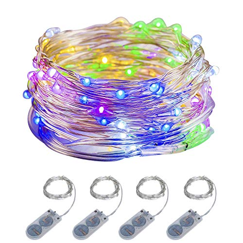 ITART Micro LED String Lights Battery Powered 4 Packs Multi Color Mini Fairy Light 20 LED 6Ft Ultra Thin Silver Wire Rope Lights for Christmas Trees Wedding Parties Bedroom ()