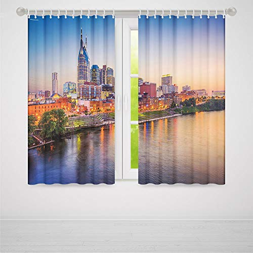 ALUONI Window Blackout Curtains,United States,for Bedroom Living Dining Room Kids Youth Room,Cumberland River Nashville Tennessee Evening Architecture Travel Destination2 Panel Set,103W X 94L Inches