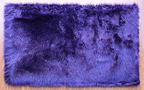 Masada Rugs, Faux Sheep Fur Shag Area Rug Purple (3 Feet X 5 Feet)