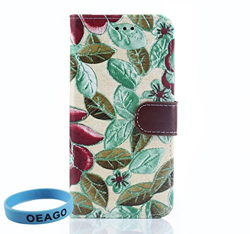 HTC One M9 Case - Colorized Flowers Wallet Cloth Leather Stand Case for HTC One M9 + 1 Stylus Pen + 1 OEAGO Sports wrist band + 1 OEAGO Cleaning Cloth (Brown / Green)