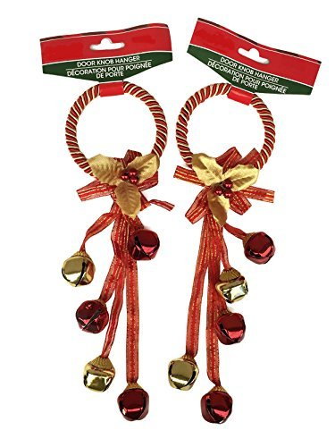 Jingle Bells Christmas Holiday Door Knob Hanger Decoration - Set of 2 (Red & Gold)