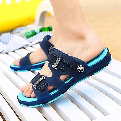 Baoziv587 Home Outdoor Slippers Summer Outdoor Light Casual Fashion Tide Brand Slippers Men And Women European And American Street Retro Trend Men S Sandals Men 39 Standard Code Dark Blue Bottom