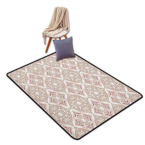 Children's Rugs Playrug Rugs Moroccan Pastel Colored Complex Tiles with Geometrical Shapes Ancient Persian Art Bath Rug Slip W5'xL6'