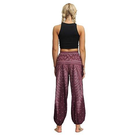 Mujer Pantalones Hippies Tailandeses Estampado Verano ...