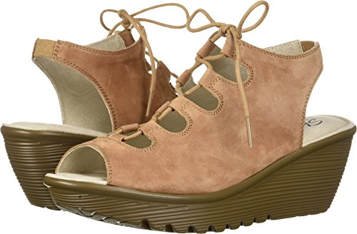Skechers Women's Parallel Peep Toe Ghillie Slingback Wedge Sandal, Light Brown, 10 M US (Peep Wedge Toe Slingback)