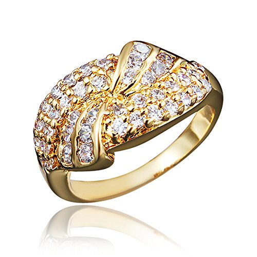 "BLOOMCHARM ""Wonder Land 18K Gold Plated Cubic Zirconia Engagement Wedding Eternity Ring, Birthday Gifts for Women Friends Girls (Gold, 6)"